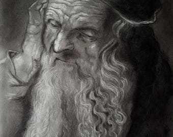 Head of an old man Charcoal drawing print, Handmade portrait of an old man, Art Copy pencil and charcoal, A2 print