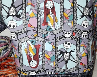 Nightmare before Xmas, Sally & Jack, Medium or Large Wedge Project Bag,  Choice of Zipper or Drawstring, Tote,Nightmare B4 Christmas