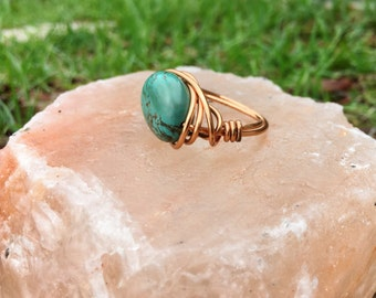 Turqouise Wrapped in Copper Ring