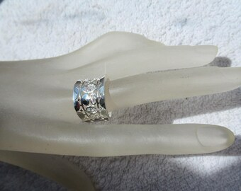 RING FILIGRANEE ring wide silver and cubic zirconia diamond color unisex jewelry