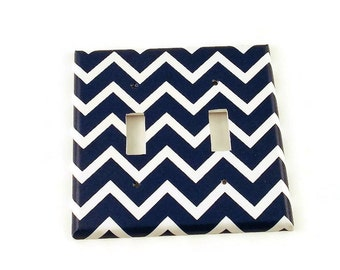 Double Light Switch Cover  Switch Plate Switchplate in Navy Chevron   (208D)