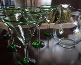 Vintage, Six Blown Glass Margarita Glasses with Pitcher