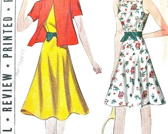 Spring Sale Uncut 30s Vintage Sewing Pattern by Pictorial Review 9319 Sports Ensemble Dress and Hoody Jacket   Bust 36 inches