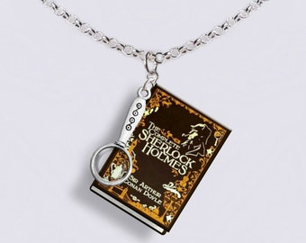 Sherlock Holmes - With Little Magnifying Glass Charm - Miniature Book Necklace