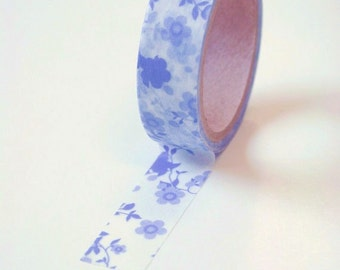 Washi Tape - 15mm - Periwinkle Floral Design - Deco Paper Tape No. 588