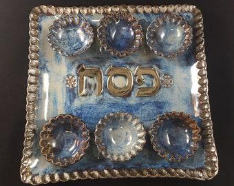 Passover Seder Plate - Blue and Bronze, Judaica handmade pottery, Seder Plate, Passover Plate