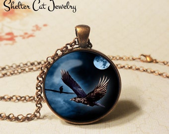 "Raven In Night Flight Necklace - 1-1/4"" Circle Pendant or Key Ring - Handmade Wearable Art Photo - Halloween Costume Vintage Holiday Gift"