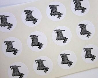 Scottie Dog Stickers One Inch Round Seals