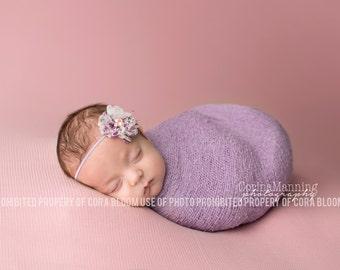 Lavender Knit Baby Wrap, Purple Knit Wrap Set, Baby Knit Wrap, Newborn Prop, Newborn Knit Wrap, Newborn Wrap Set, Photography Prop