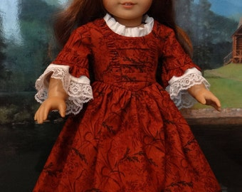 Colonial gown with fichu and bonnet for American Girl or similar 18 inch doll.