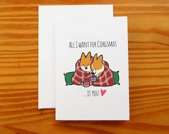 "Corgi Christmas Snuggle Greeting Card | 5x7"" Card with Envelope | Corgi Holiday Cards | I Love You Seasons Greeting Cards | Handmade"