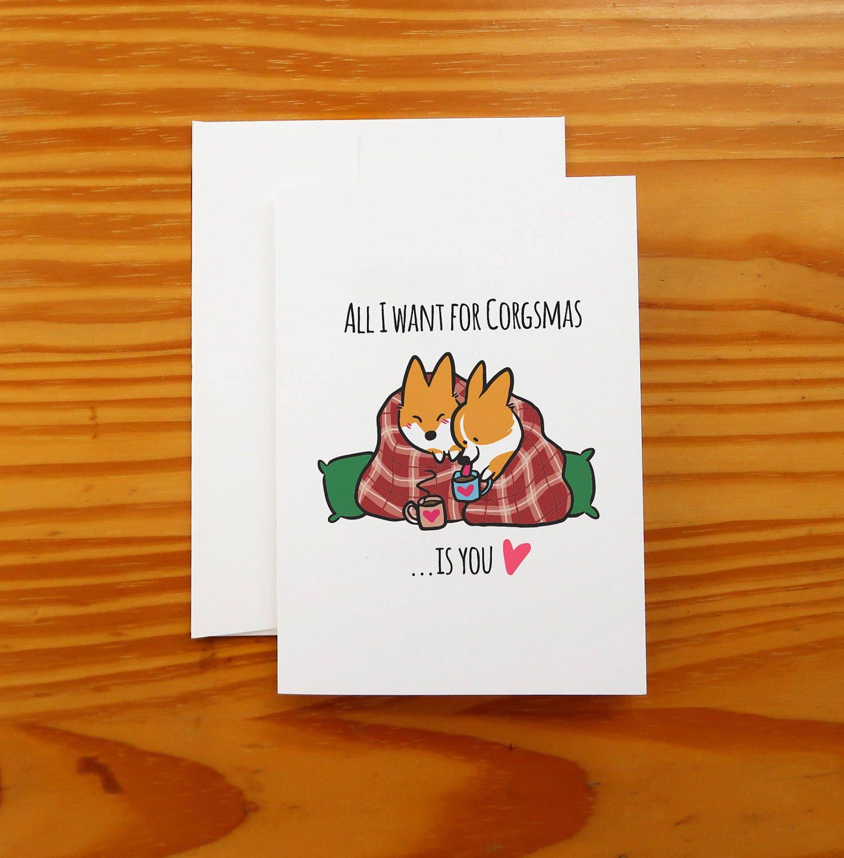 Corgi christmas snuggle greeting card 5x7 card with zoom kristyandbryce Images