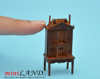 "1:48 1/4""  Dollhouse for dollhouse WALNUT with table 1/48 Top Quality"