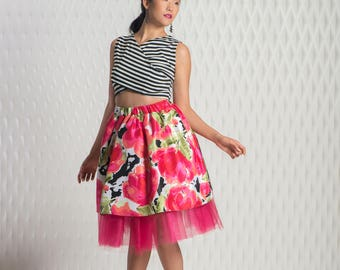 Beachy Rose skirt with tulle