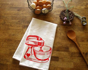 Baking Kitchen Towel Red Mixer Tea Towel CUTE kitchen towels screen print retro Indie Housewares Gifts for cooks bakers vintage mixer