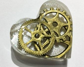 Silver White Steampunk Love Heart Brooch Pin Badge - Bronze Cogs Gears in Clear Resin