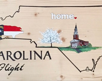 Custom Wood Hand Painted Art of any of the 50 States and State Symbols