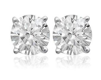 1.15 Carat Round Brilliant Cut Diamond Stud Earrings 14k White Gold