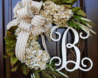 Cream Hydrangea Wreath with Monogram Letter-Round Front Door Wreath-Customized Decor-Personalized Gift~Spring and Summer Door Decor-Gift