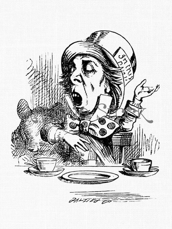 Mad hatter vintage clip art alice in wonderland line art drawing for coloring collages diy crafts transfers