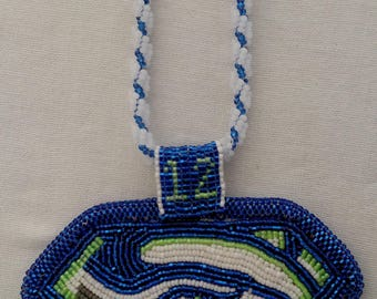 Superman Seahawk Logo Beaded Necklace