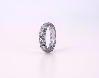 Graphite Resin Ring With Silver Flakes - Thin Faceted Band Ring - Resin Stacking Ring - Minimal Resin Jewelry