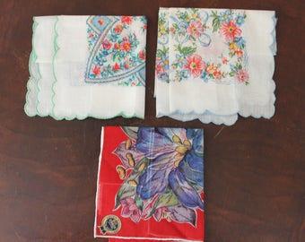 Lot of 3 Vintage Floral Printed Handkerchiefs