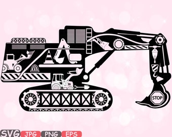 Digger Excavator Silhouette SVG file Cutting files stickers builders WORK school Construction Site Clipart Building Machine Bulldozer -558S