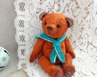 Teddy bear sailor OOAK bear Orange bear Artist teddy bear Plush bear Gift for her Toy bear Teddy toy  Bear vintage Collectible toy handmade