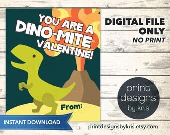 Printable Dinosaur Valentines Day Card - Printable Valentine - School Valentines Day Card - Dinosaur Valentines - Preschool Valentines