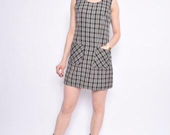 Vintage 90's Plaid Mini Dress / Sleeveless Plaid Pocket Dress - Size Medium