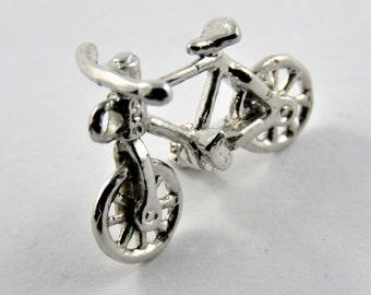 Boys Mountain or BMX Bike Sterling Silver Charm of Pendant.