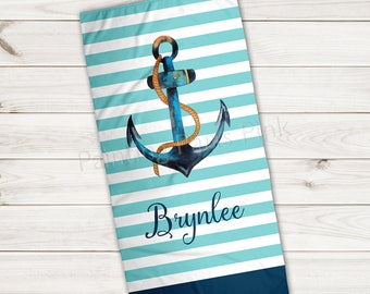 Beach Towel | Anchor Watercolor Personalized | Extra Large 30x60 | Ultra-Soft Sheared Microfiber | Summer | Island Nautical | Stripes | Gift