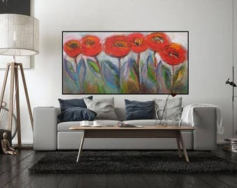 "XL Abstract painting oil on stretched canvas over-sized Modern floral wall art horizontal artwork 48""x24 over the sofa contemporary abstract"