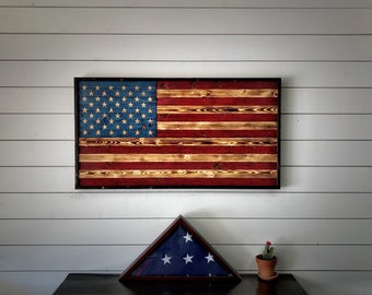 Father's Day Framed American Flag, Charred w/ Color, Wooden Flag, US Flag, Wall Art, American Flag, Gift for Him, Anniversary Gift