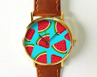 Watermelon Watch, Wrist Watch, Women Watches, Tropical Fruit, Beach Jewelry  Accessories, Leather Watch, Vegan Jewelry Leather, Cute Gift