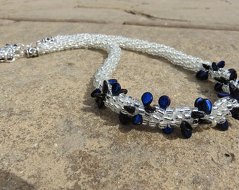 N-51Diamond & Sapphire Necklace, Seed Bead Necklace, Kumihimo Braided Necklace