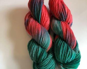 Raindrops on Roses - hand dyed yarn - hand painted wool yarn -  bulky weight yarn - red yarn - green yarn - chunky knitting - bulky wool