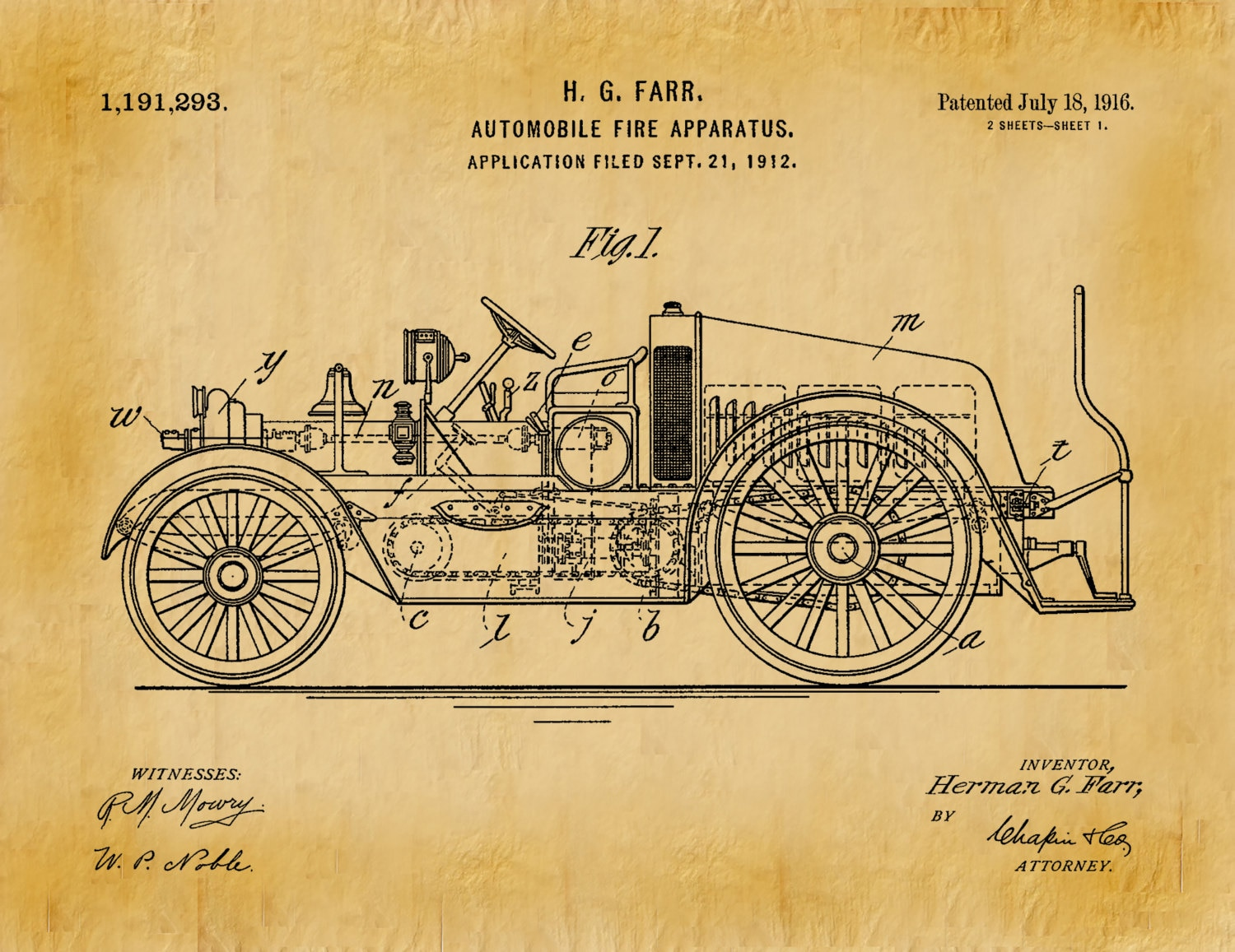 Patent 1916 Fire Truck Automobile Fire Apparatus Art Print or Poster ...