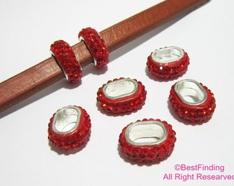 6pcs Red rhinestone sliders 11x7mm Licorice leather findings pave beads