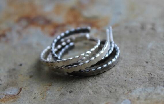 Flattened Twist Sterling Silver Braid Post Hoop Earrings Gifts Under 50
