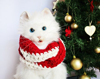 Pet costume Dog christmas scarf for cat Pet christmas outfit Dog lover gifts Cat santa scarf Dog Cat outfits Pet christmas costume for dog