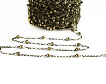 Antique Bronze Brass Chain 1x2 mm, Satellite Chain, Soldered chain with 3mm ball, Oval link chain, 5 Meters per packaging
