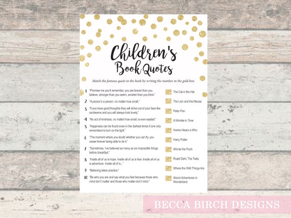 Childrens Book Trivia Game Baby Shower Game Coed Baby