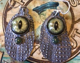 Alligator Eye Earrings with Jade amd Textured Sterling Silver