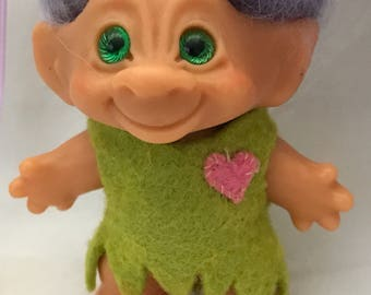 Vintage Troll with spiral glass eyes in Handmade Outfit Circa 1970