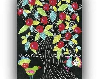 "Pomegranate tree art, Archival print 5 x 7"", Kitchen art, Fruit art, Acrylic pomegranate painting print, Fruit collage, Jewish tree of life"