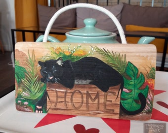 Black Panther home sign - hand painted wooden home sign -