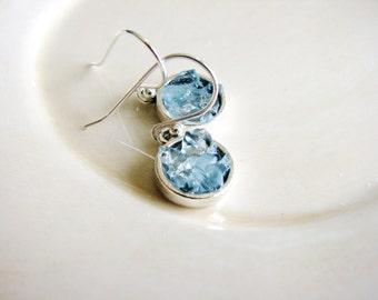 Pale Blue Dangle Earrings, Silver Earrings, Blue Glass Earrings, Glass Chip Earrings, Faux Druzy Earrings, Faux Stone Earrings, Geology
