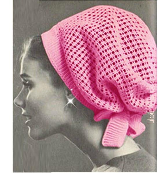 Crochet Pattern Vintage 60s Crochet Hat Pattern Crochet Snood